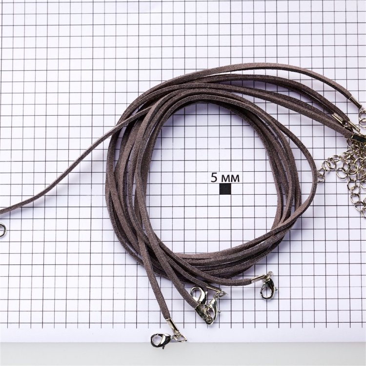Основа для кулона серая замша искусственная 3 мм