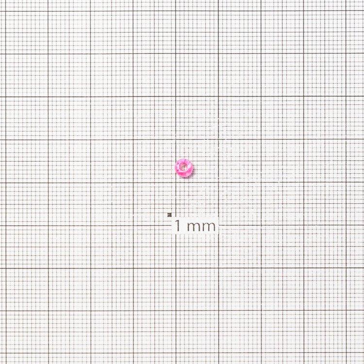 Бисер круглый, крупный, розовый огонек, прозрачный. Калибр 6 (3,6 мм)