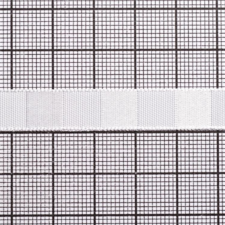 Стрічка атласна 10 мм смугаста біла