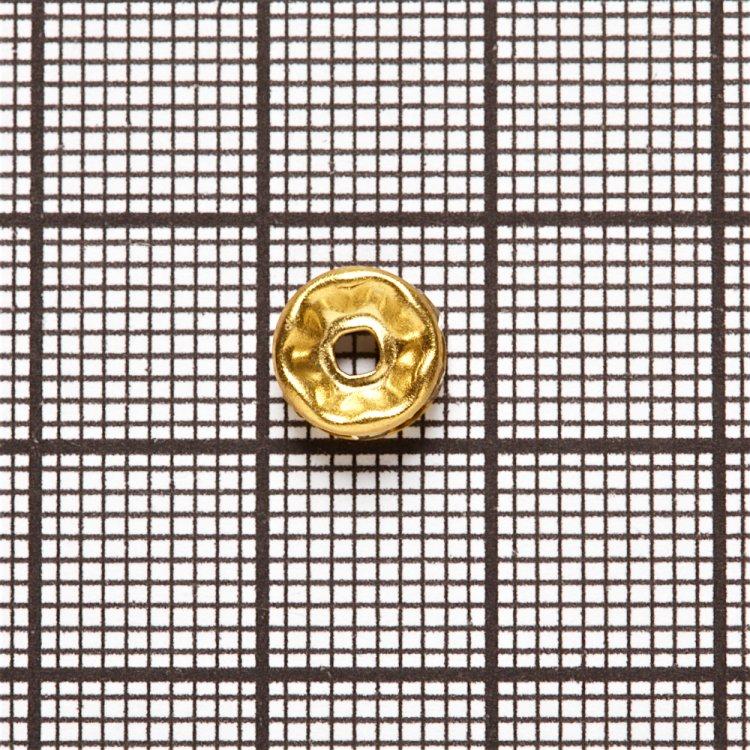 Разделительная бусина, рондела 8 мм золотая с белыми  стразами
