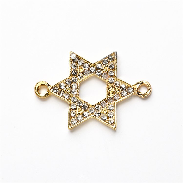 Соединительный элемент, переходник Звезда Давида с белыми стразами