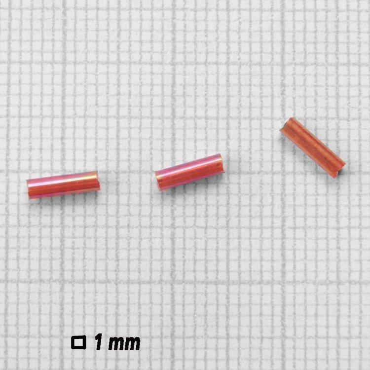 Бисер стеклярус. Коричневый бензин, прозрачный. 6 мм.