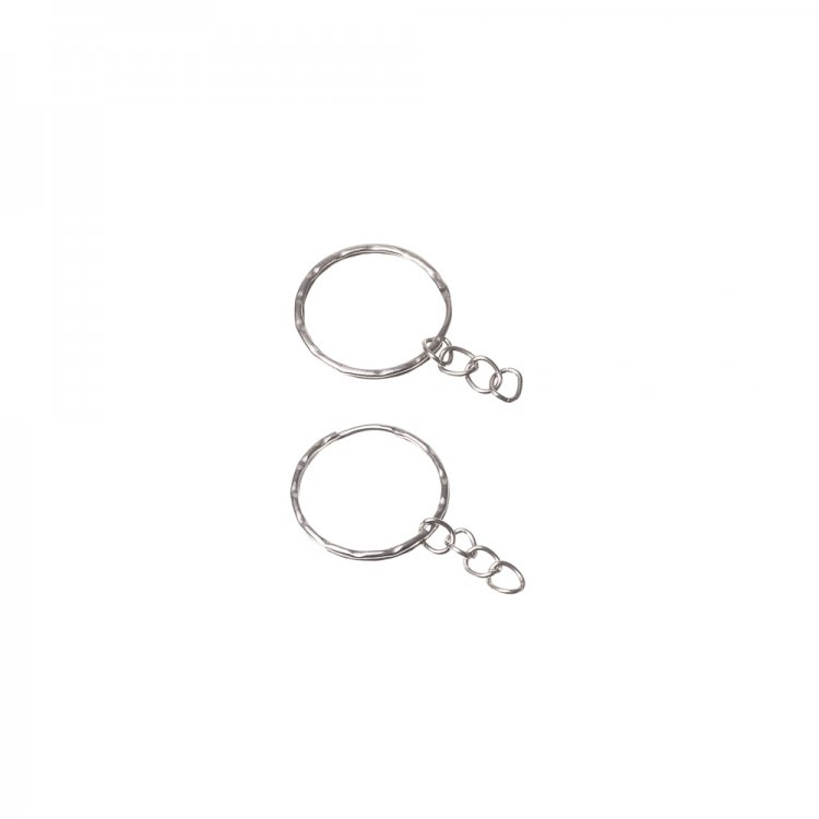 Кільце для брелка кругле подвійне з ланцюжком 25 мм мельхіорових