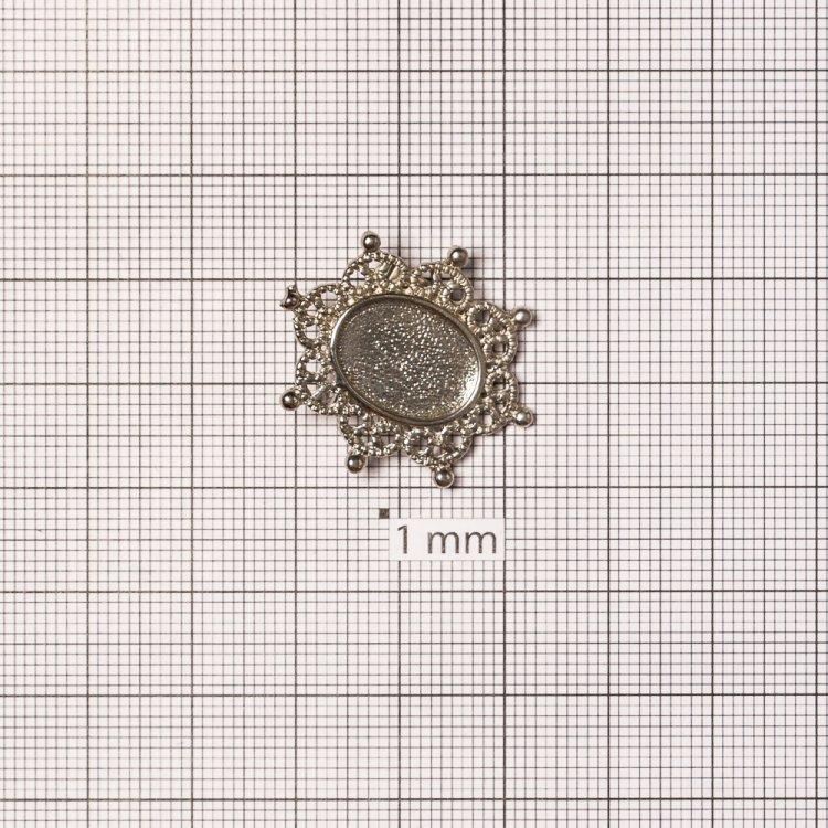 Основа для броши овальная клеевая, серебро, 24х28 мм