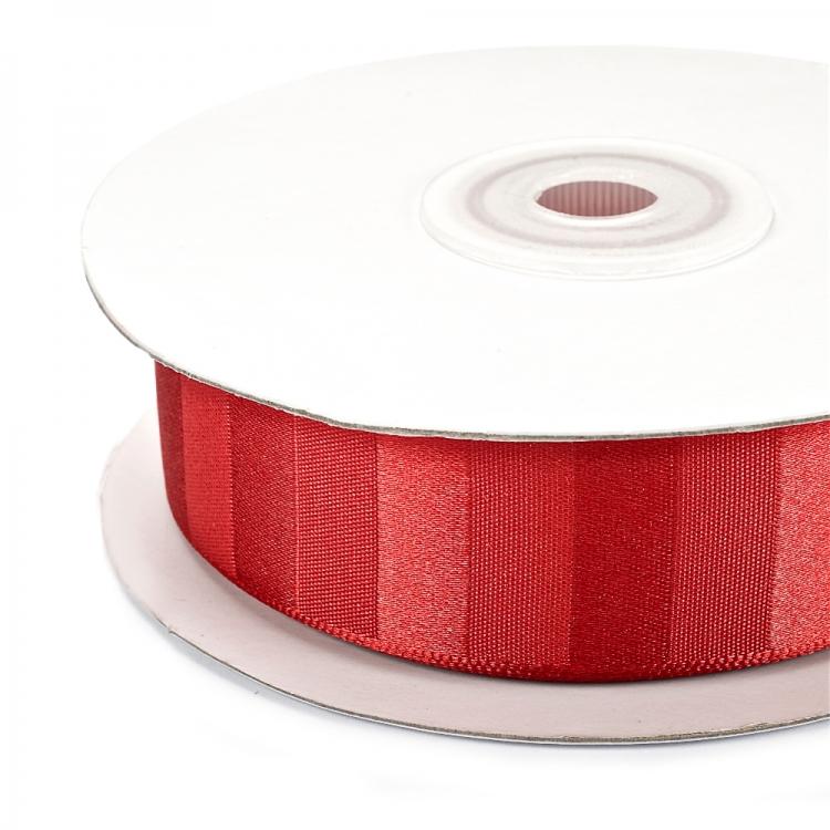 Лента атласная 25 мм полосатая красная