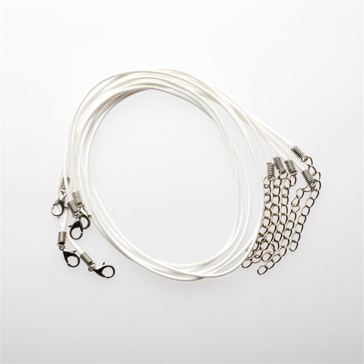 Плетёный шнур для кулона белый хлопок 1,5 мм