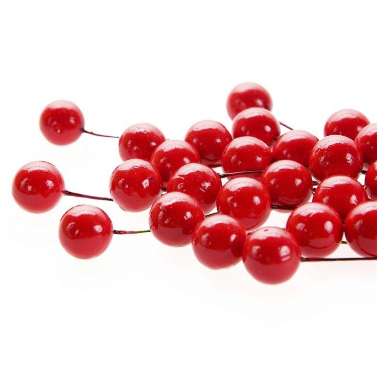 Декор Красные бусины на проволоке
