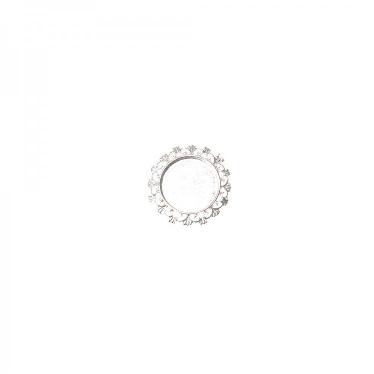 Основа для брошки кругла клейова ажурна, срібло, 28 мм