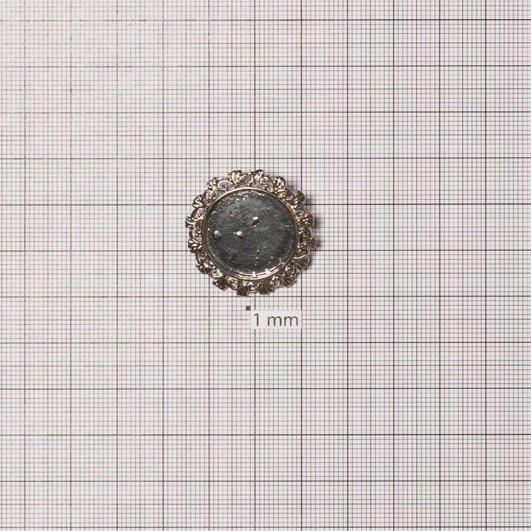 Основа для броши круглая клеевая ажурная, мельхиор, 28 мм