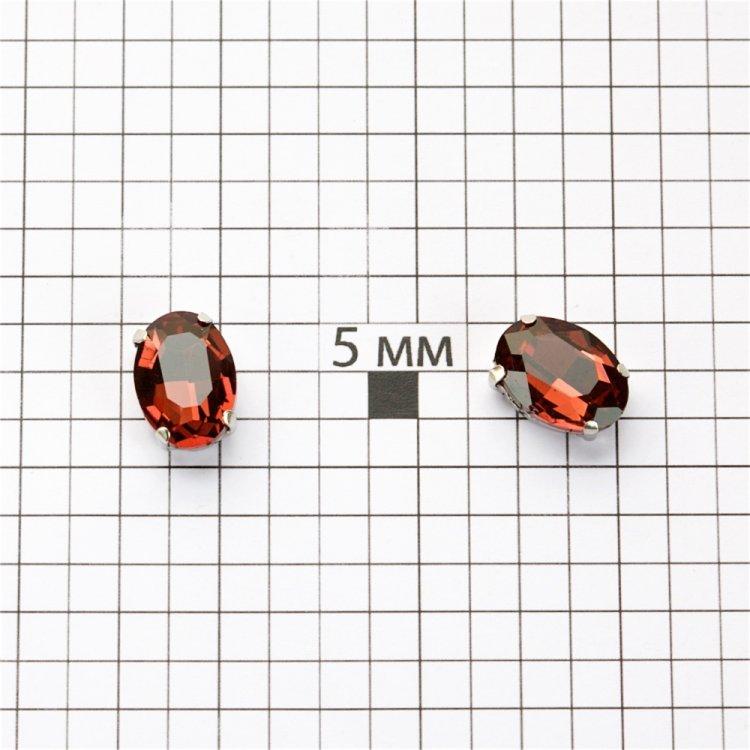 Стразы стеклянные в металлической оправе. Аметист. Длина 14 мм, ширина 10 мм.
