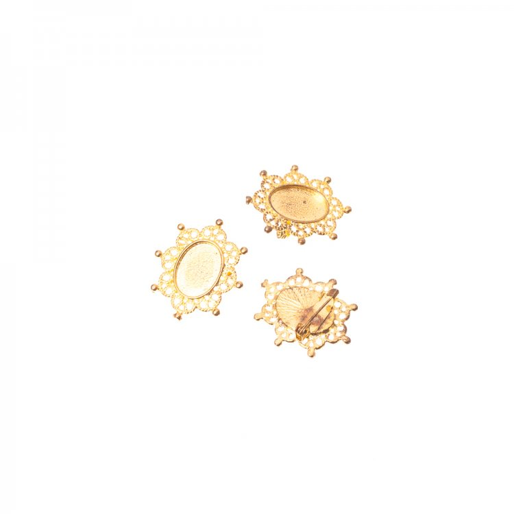 Основа для брошки овальна клейова, золото, 24х28 мм