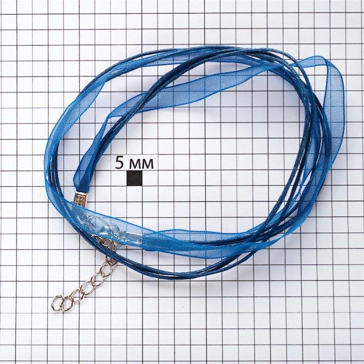 Основа для кулона Четыре хлопковых шнура и лента из органзы, тёмно-синяя