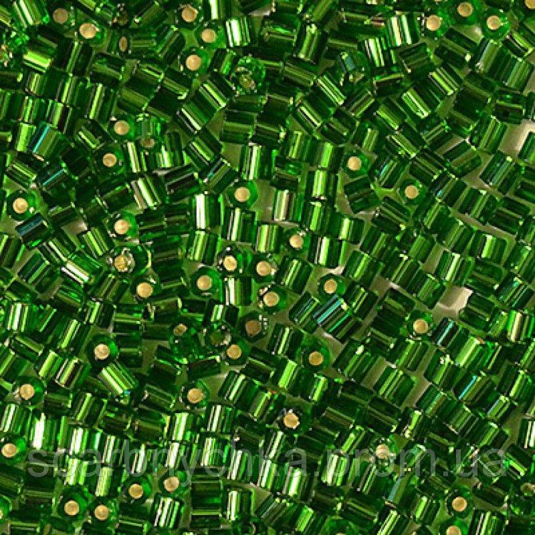 Бисер-рубка, зеленый, сольгель, с серебряной серединкой