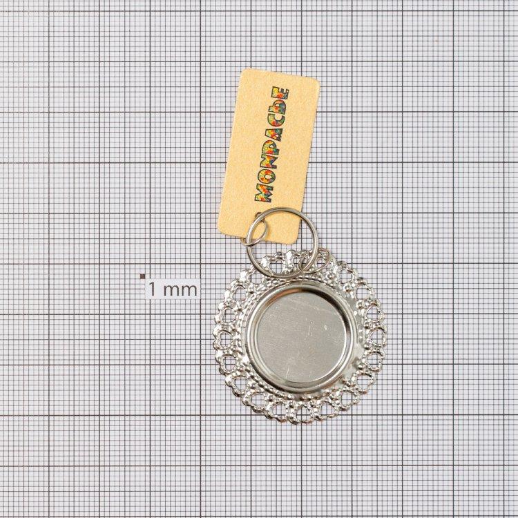 Основа для вклеивания, круг, мельхиор, внутренний диаметр 18 мм