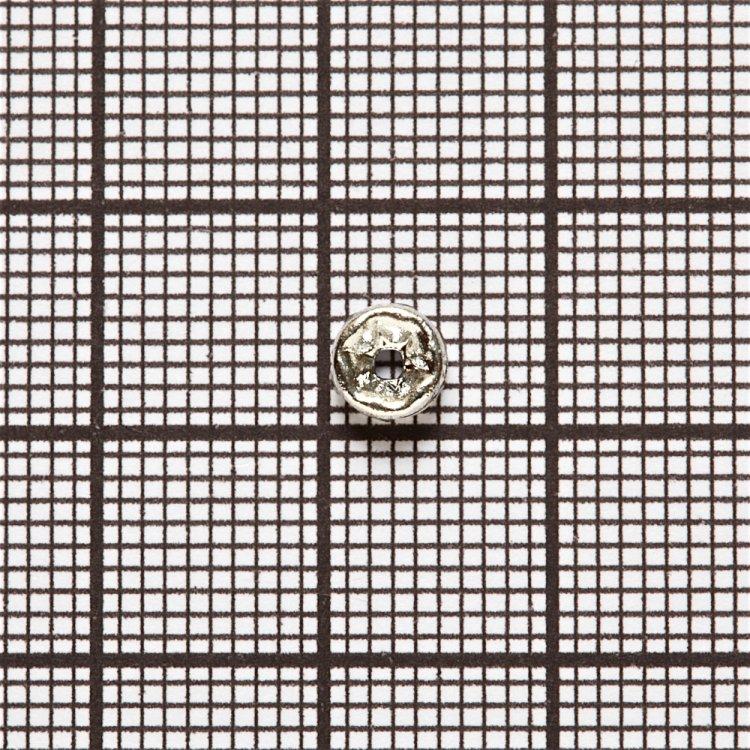 Pазделительная бусина рондела 5 мм серебристая с белыми стразами