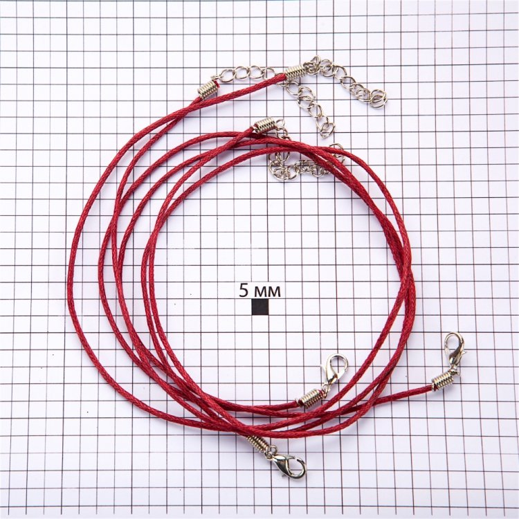Основа для кулона бордовая хлопок 1,5 мм