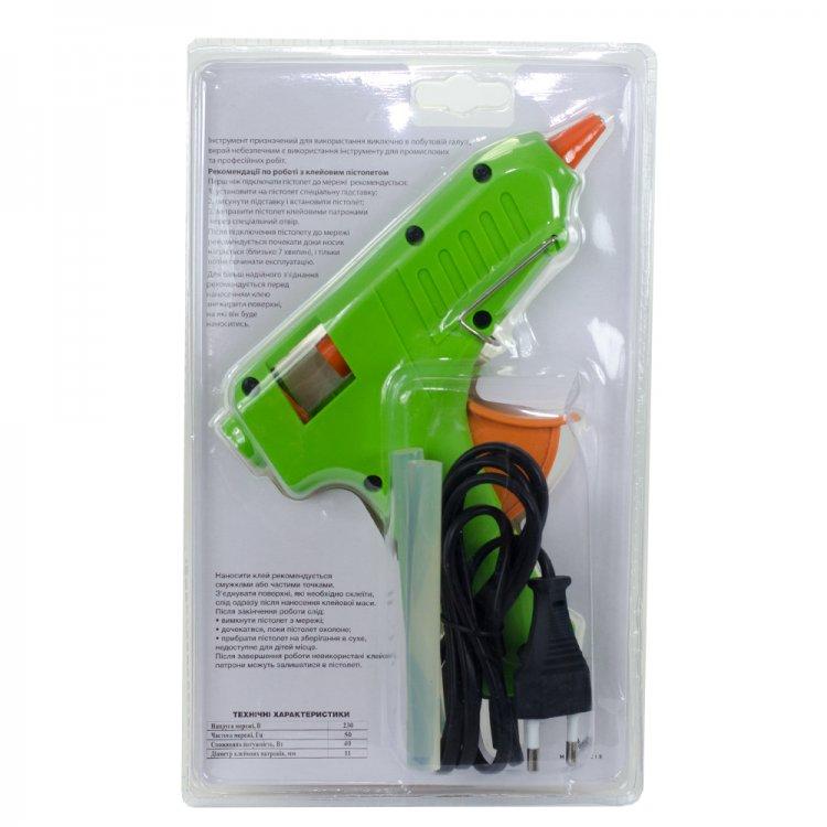 Пистолет электрический для клея 11 мм, зеленый, 40 Вт