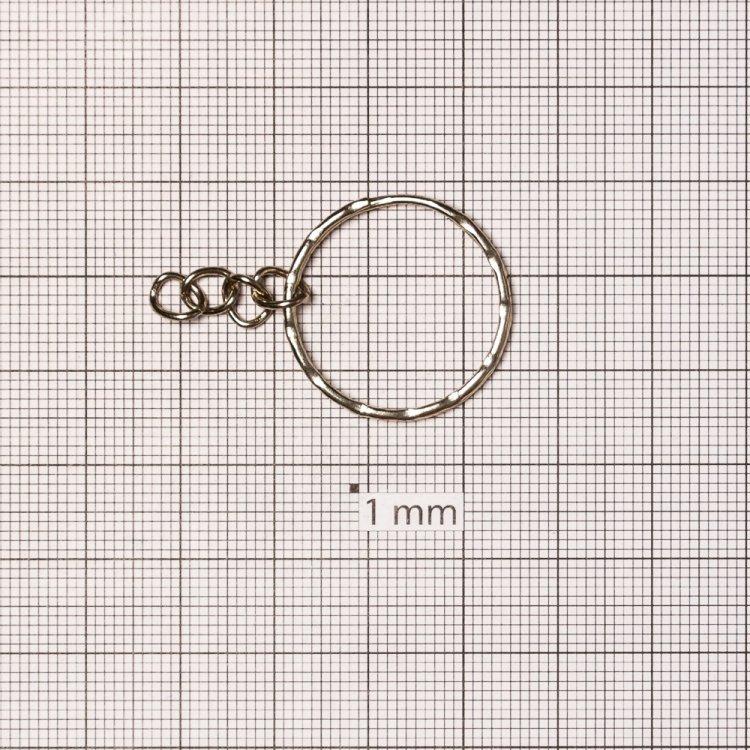 Кольцо для брелка круглое двойное с цепочкой 25 мм мельхиоровое
