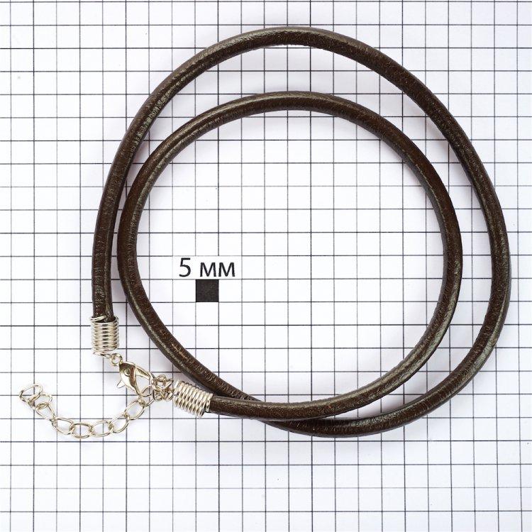 Основа для кулона тёмно-коричневая кожзам 4 мм