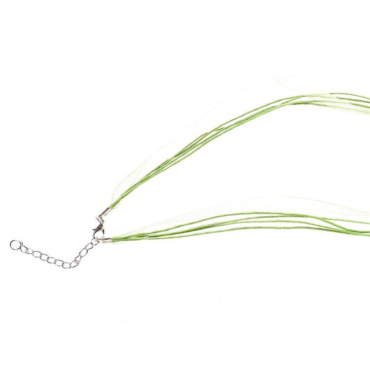 Основа для кулона Чотири бавовняні шнури і стрічка з органзи, салатова