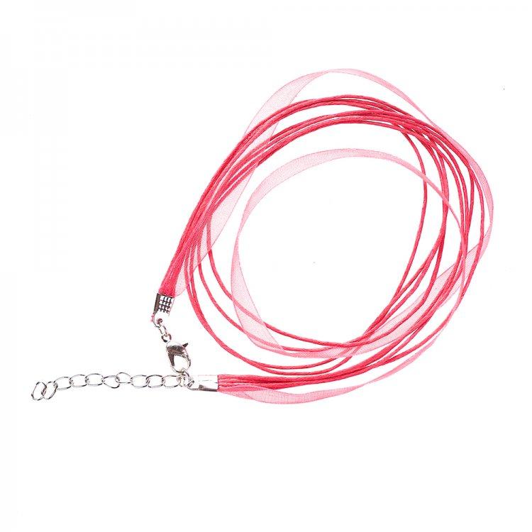 Основа для кулона Четыре хлопковых шнура и лента из органзы, малиновая