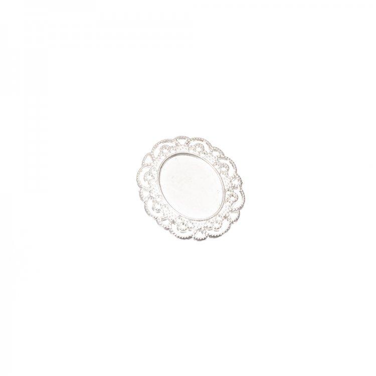 Основа для броши овальная клеевая, серебро, 40х35 мм