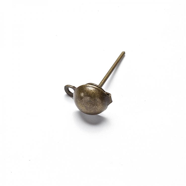 Основа для сережок гвоздик з капелюшком бронзова