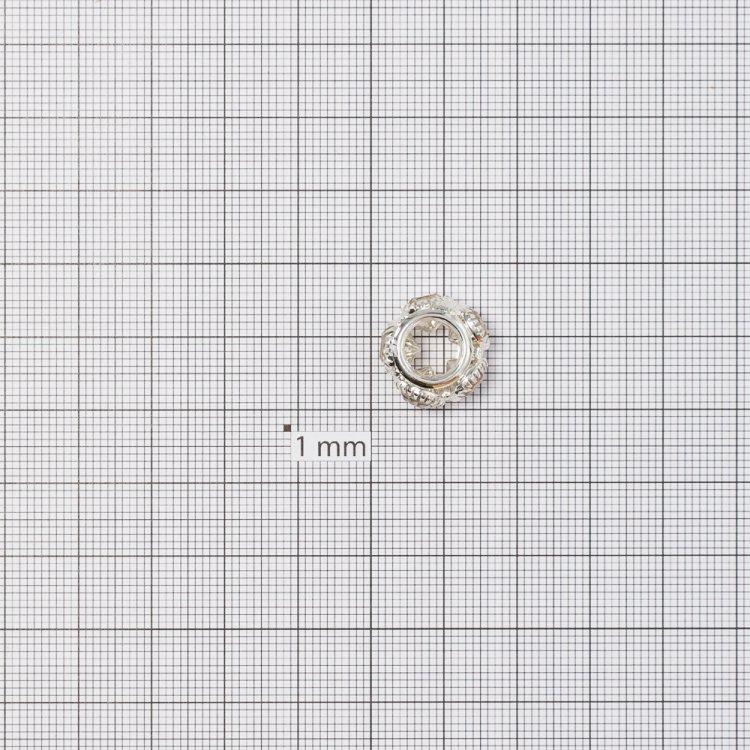 Розділова намистина 15 мм срібляста з білими стразами