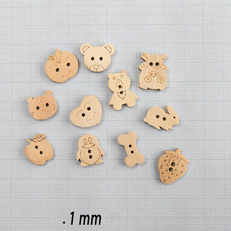 Кролик, пуговица деревянная, 17х12 мм