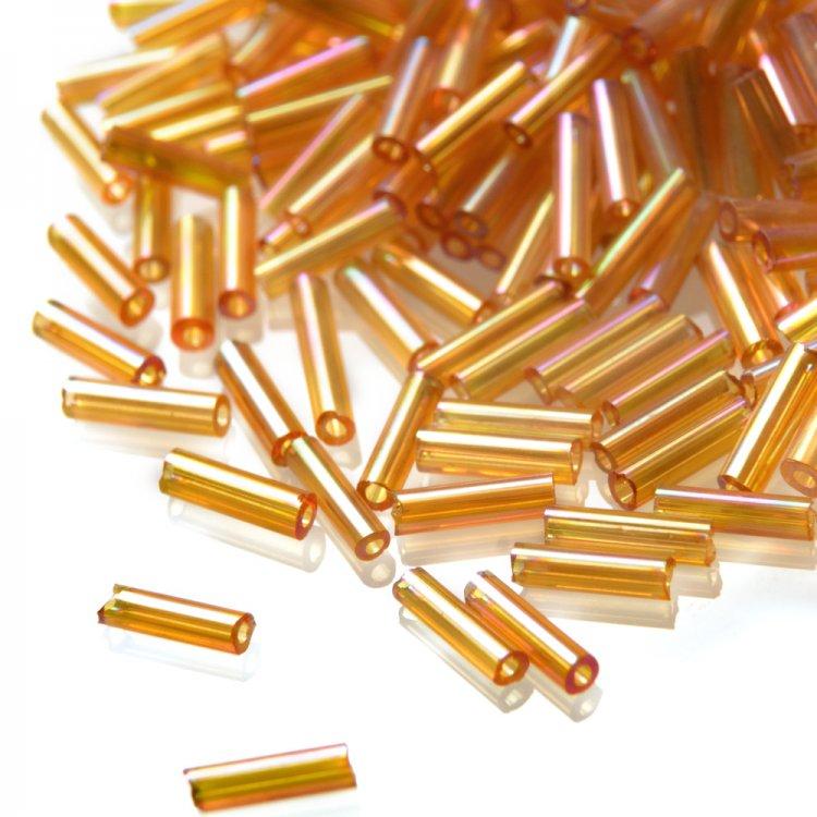 Бисер стеклярус. Золотой. 6 мм.