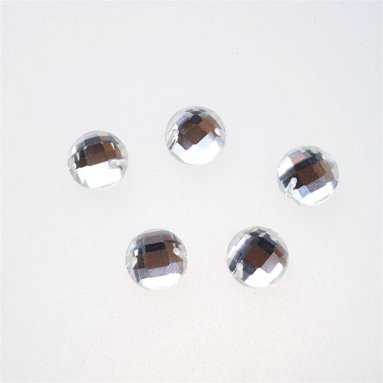 Стразы стеклянные пришивные. Прозрачный. Диаметр 10 мм