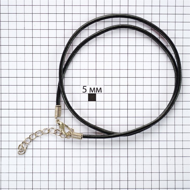Основа для кулона чёрная кожзам 2,5 мм