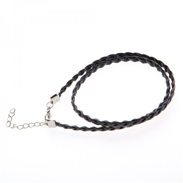 Готовые основы - шнур плетеный плоский из кожезаменителя черный