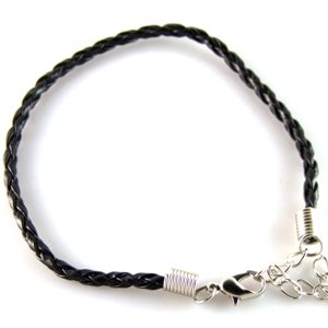 Шнур для браслета косичка чёрный кожзам 3 мм