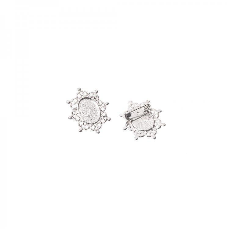 Основа для брошки овальна клейова, срібло, 24х28 мм