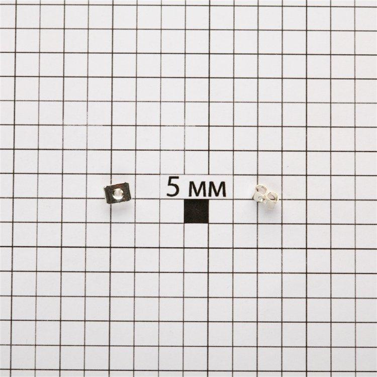 Фиксатор для серег прямоугольный серебристый