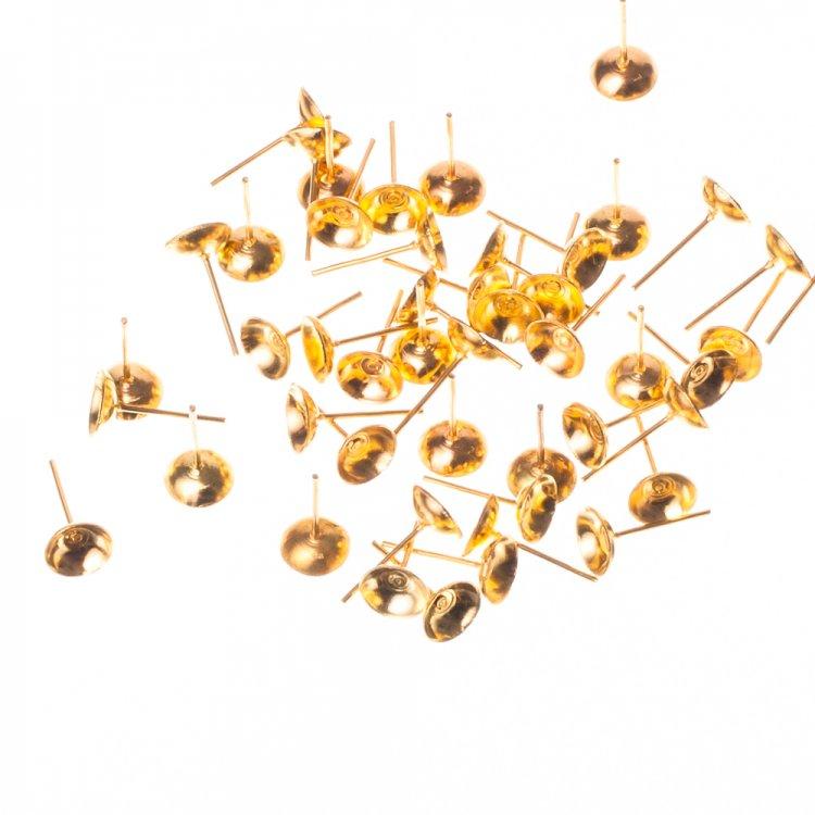 Основы-гвоздики для серег. Золотой. Диаметр 8 мм.