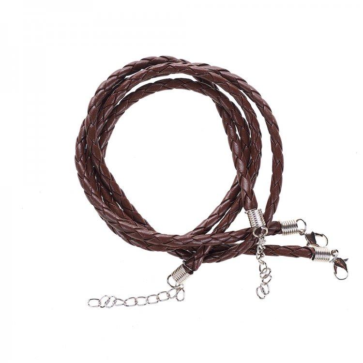 Шнур плетёный коричневый кожзам 4 мм