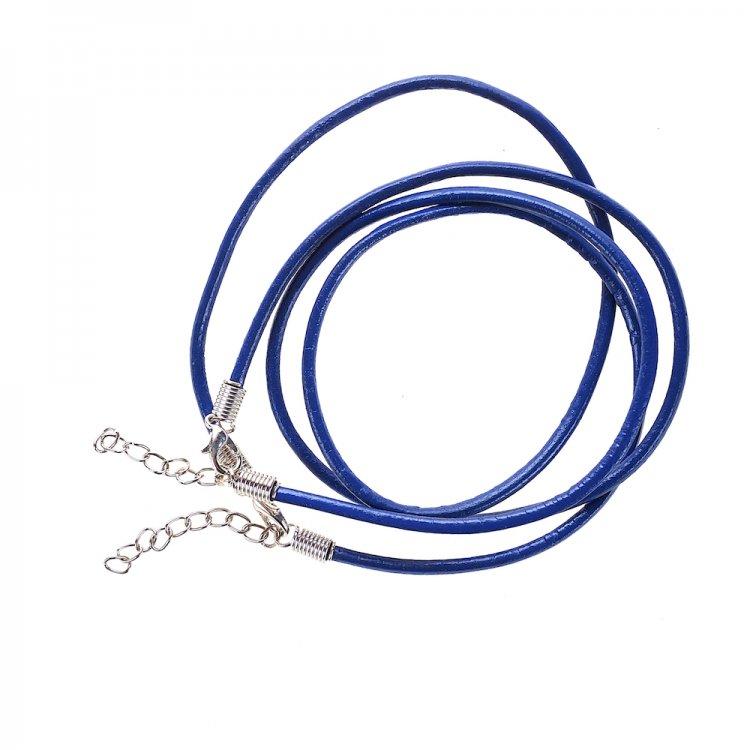 Основа для кулона тёмно-синий кожзам 3 мм