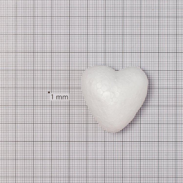 Пінопласт заготовка, серце. Білий. 40 мм.