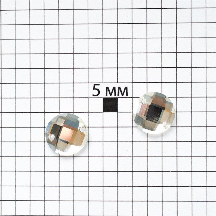 Стразы стеклянные пришивные. Прозрачный. Диаметр 14 мм.