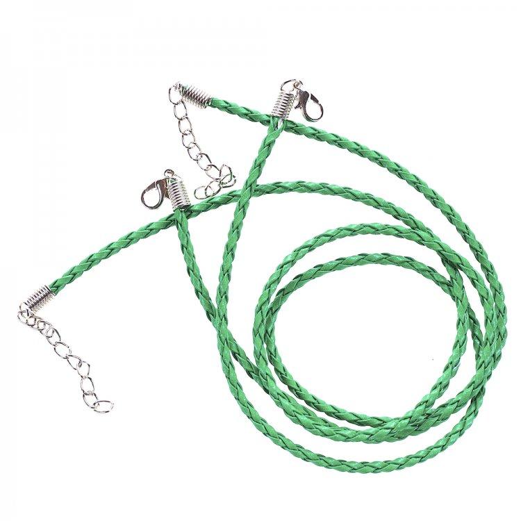 Плетёный шнур для кулона зелёный кожзам 3 мм