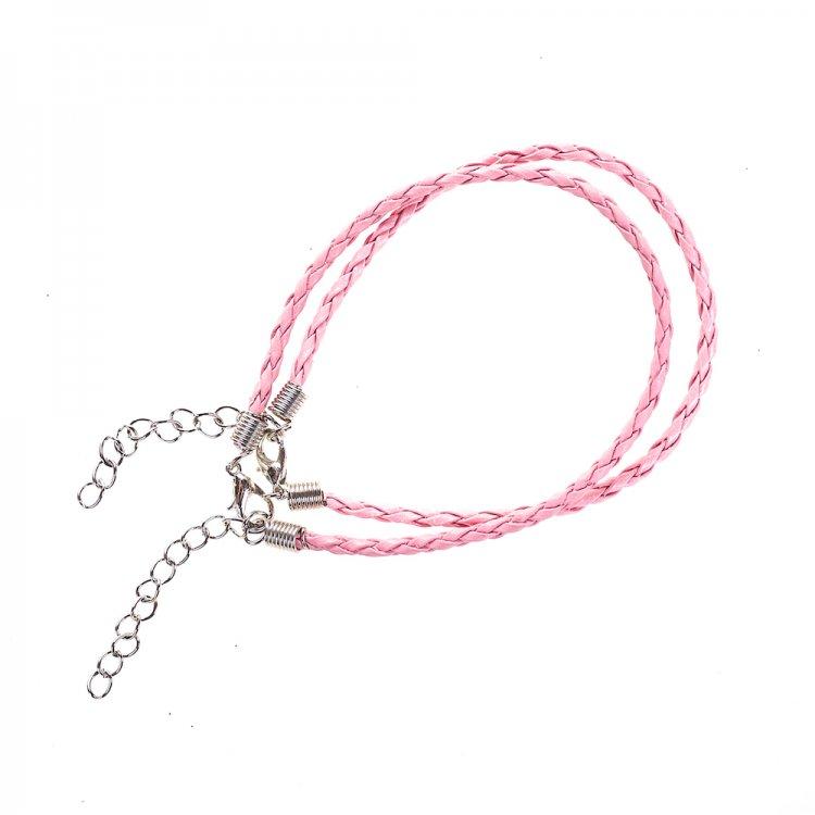 Основа для браслета розовая кожзам 3 мм