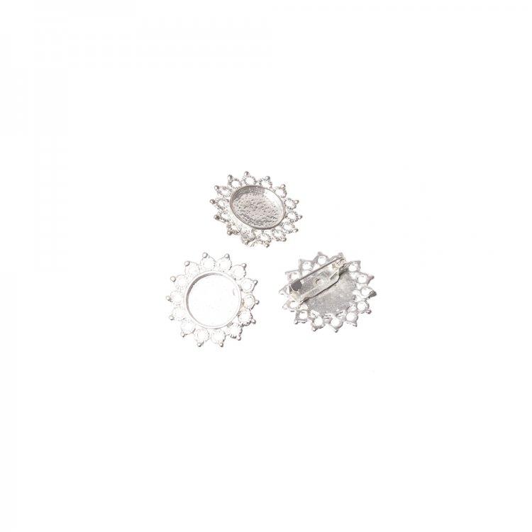 Основа для броши круглая клеевая ажурная, серебро, 22 мм
