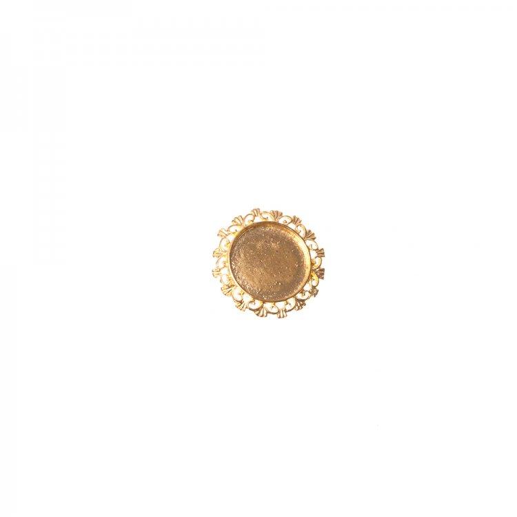 Основа для брошки кругла клейова ажурна, золото, 28 мм