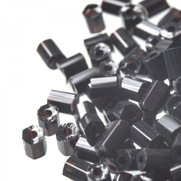 Бисер-рубка черный цилиндрический 2.1 мм стекло