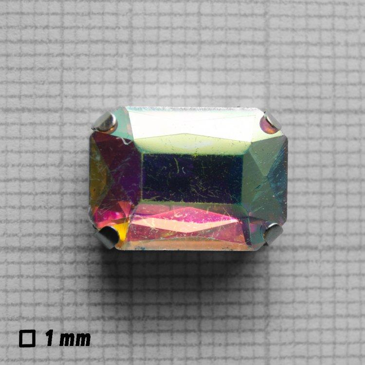Стразы стеклянные в металлической оправе. Прозрачный радужный. Длина 14 мм, ширина 10 мм.