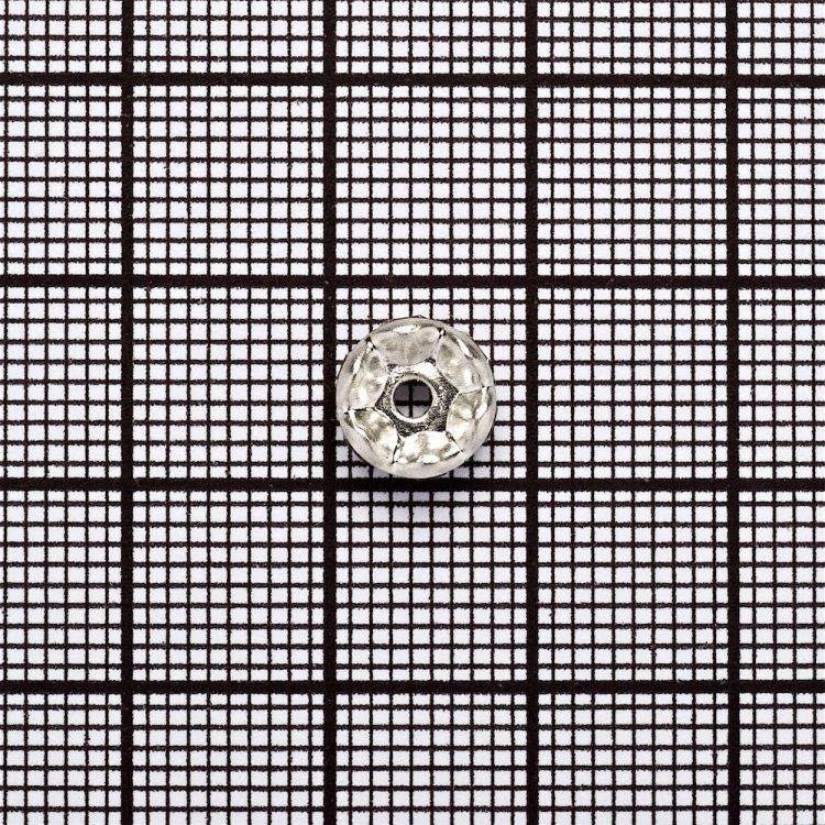 Разделительная бусина, рондела 8 мм серебристая с белыми стразами