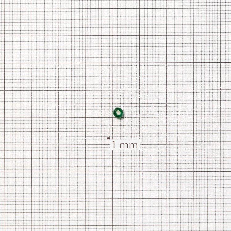 Бисер круглый, крупный, тёмно-зеленый. Калибр 6 (3,6 мм)