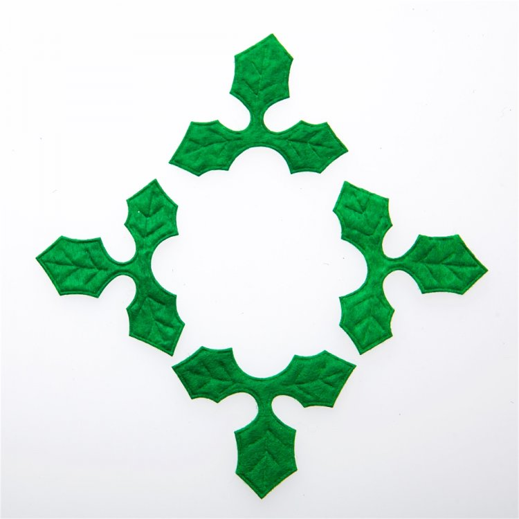 Декор Листья, фетр, зелёные